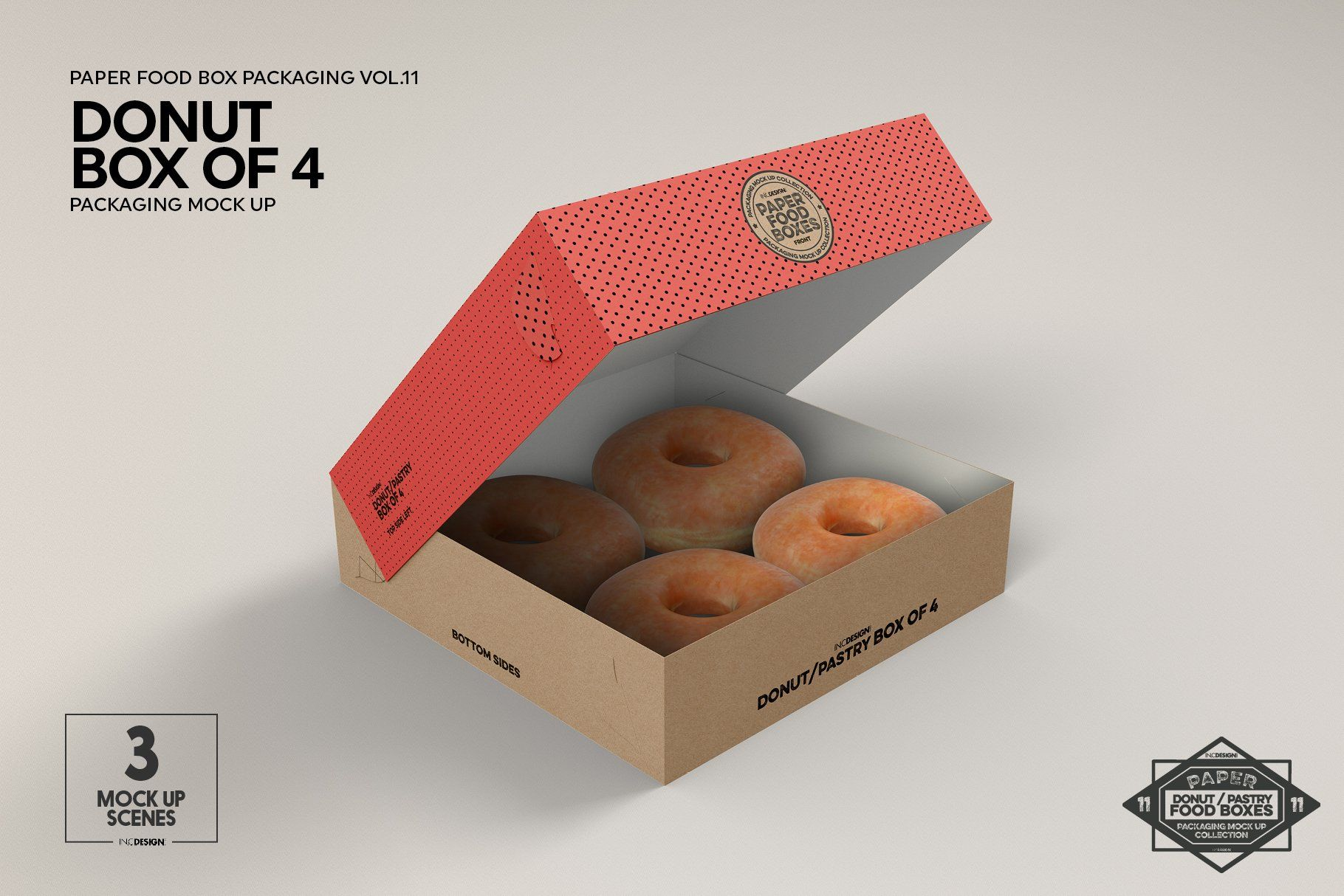 Download Box of Four Donut Pastry Box Mockup | Food box packaging ...