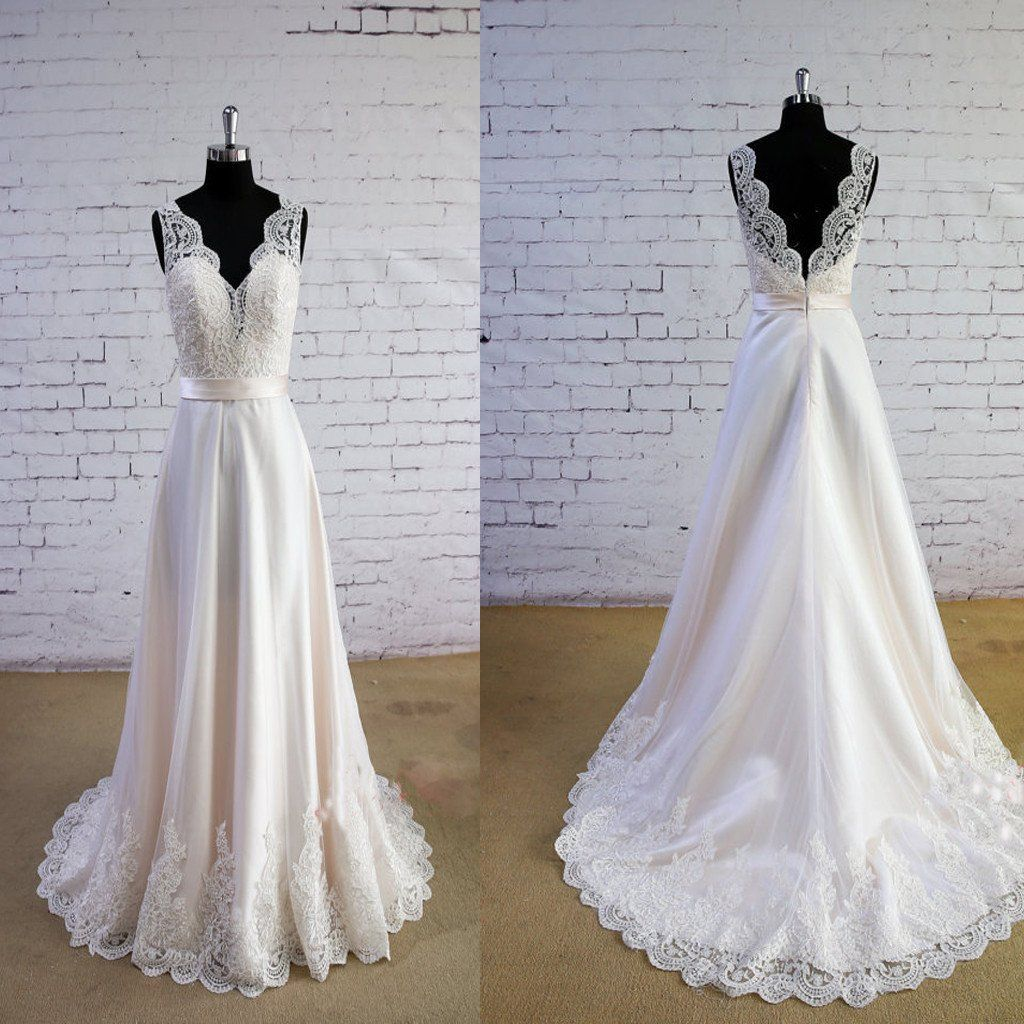 Special wheat color wedding dress vneck wedding dress vback lace a