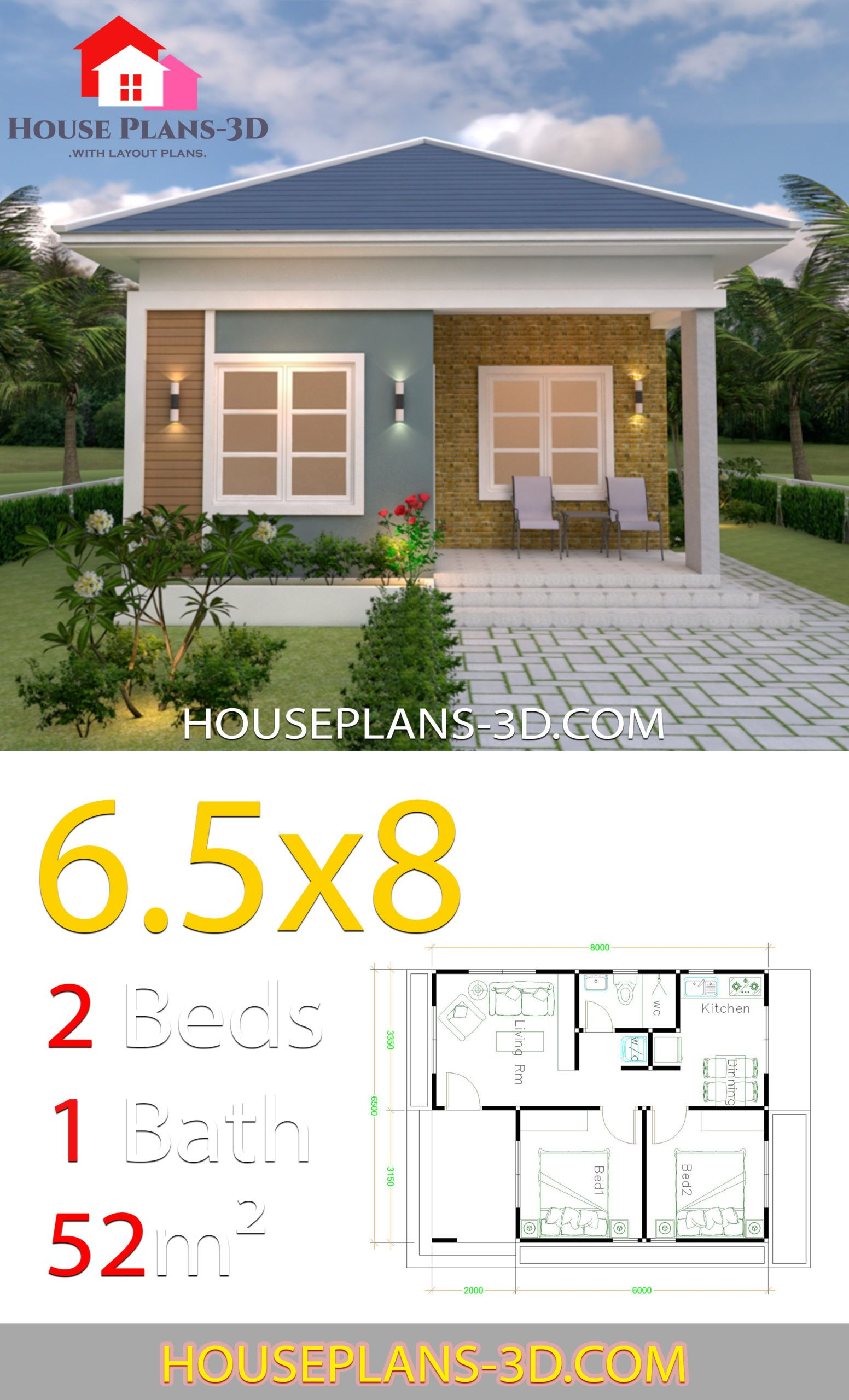 House Design Plans 6 5x8 With 2 Bedrooms Hip Roof House Plans 3d House Plans House Designs Exterior Home Design Plans