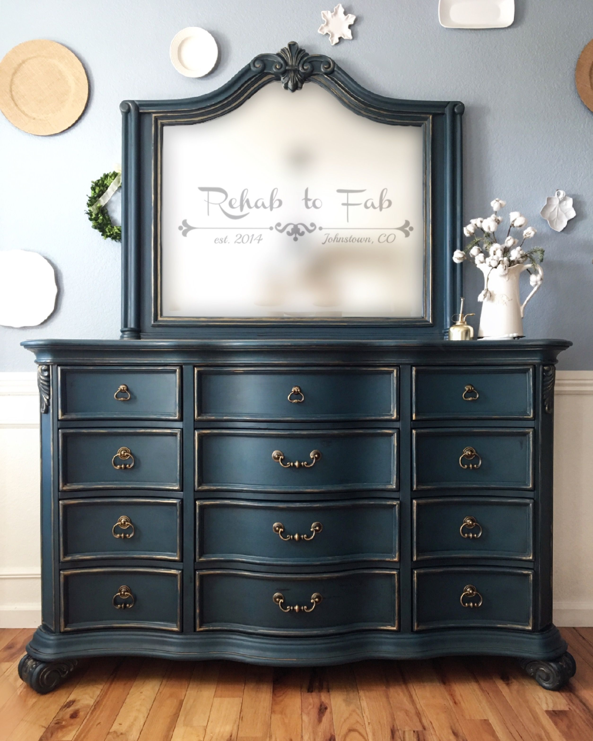 Dresser With Mirror Heirloom Traditions Paint In Vintiques Bugle Boy Done By Rehab To Fab