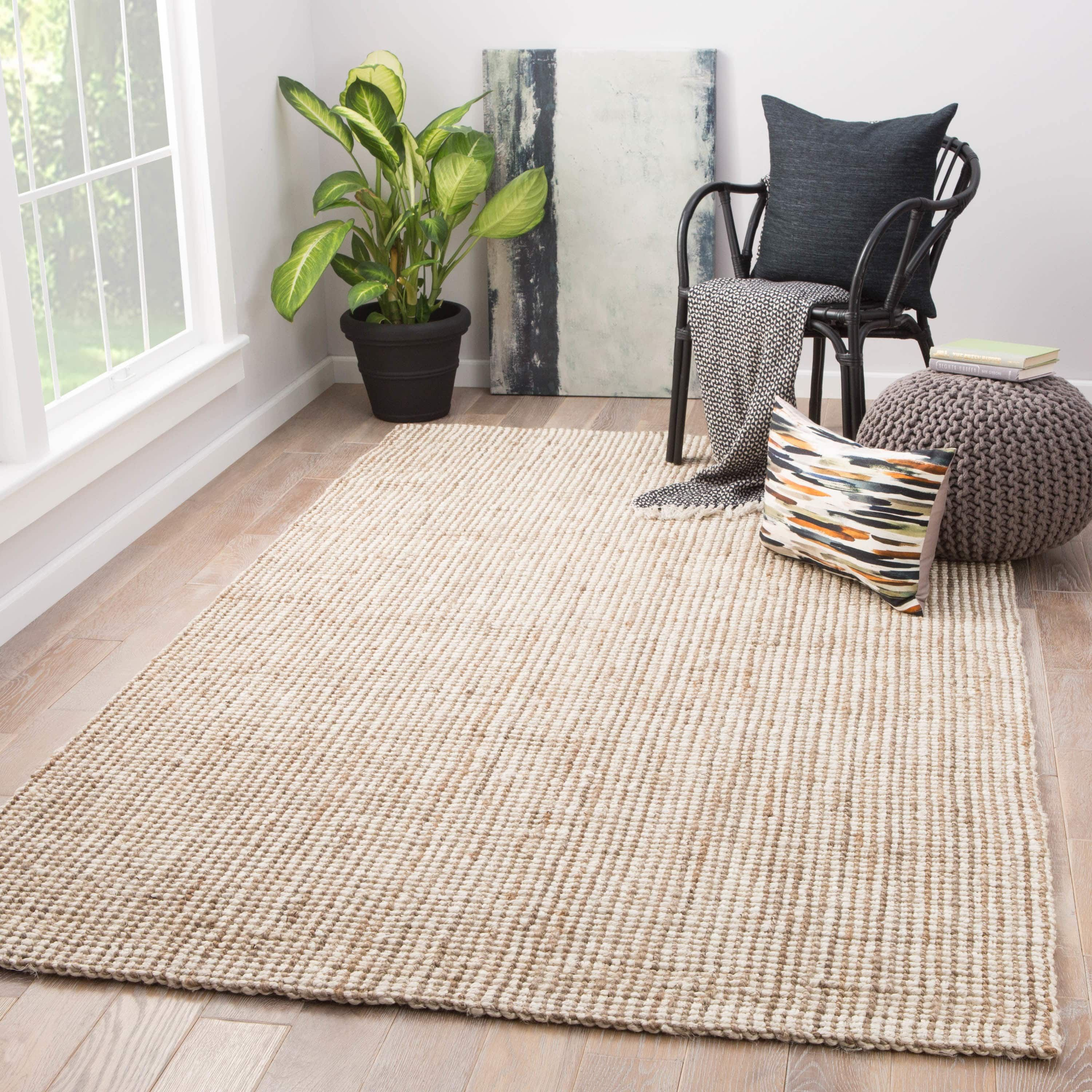 Havenside Home Chincoteague Solid White Tan Natural Jute Area Rug 10 X 14 Area Rugs Rugs Natural Rug