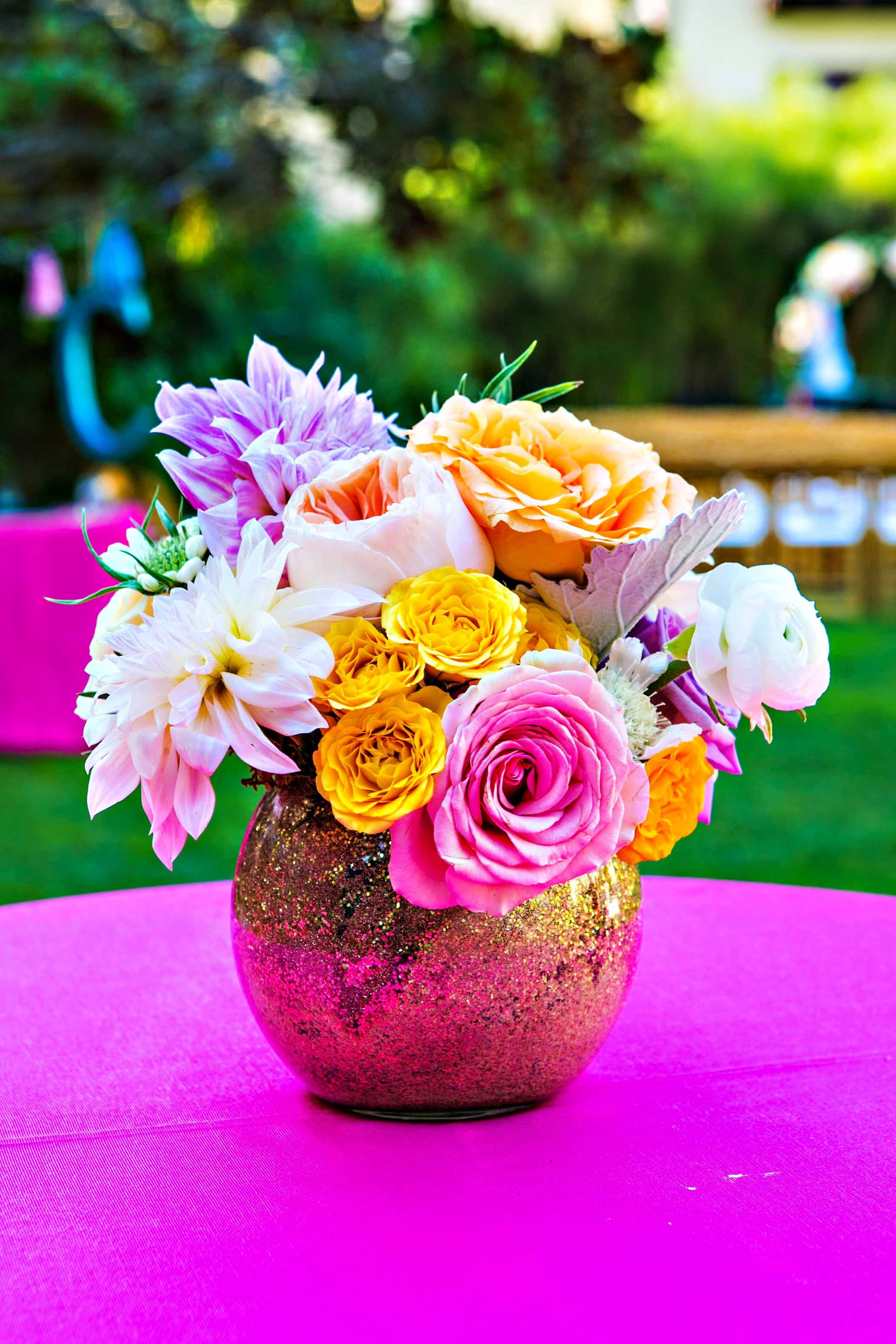Colorful Flower Arrangement, Gold Vase | flowers ...