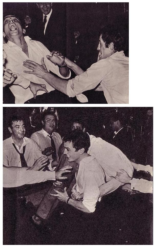 Looking very young and screwing around with Belmondo.