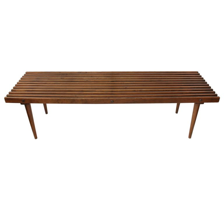 Mid Century George Nelson Style Wood Slat Bench/Coffee Table