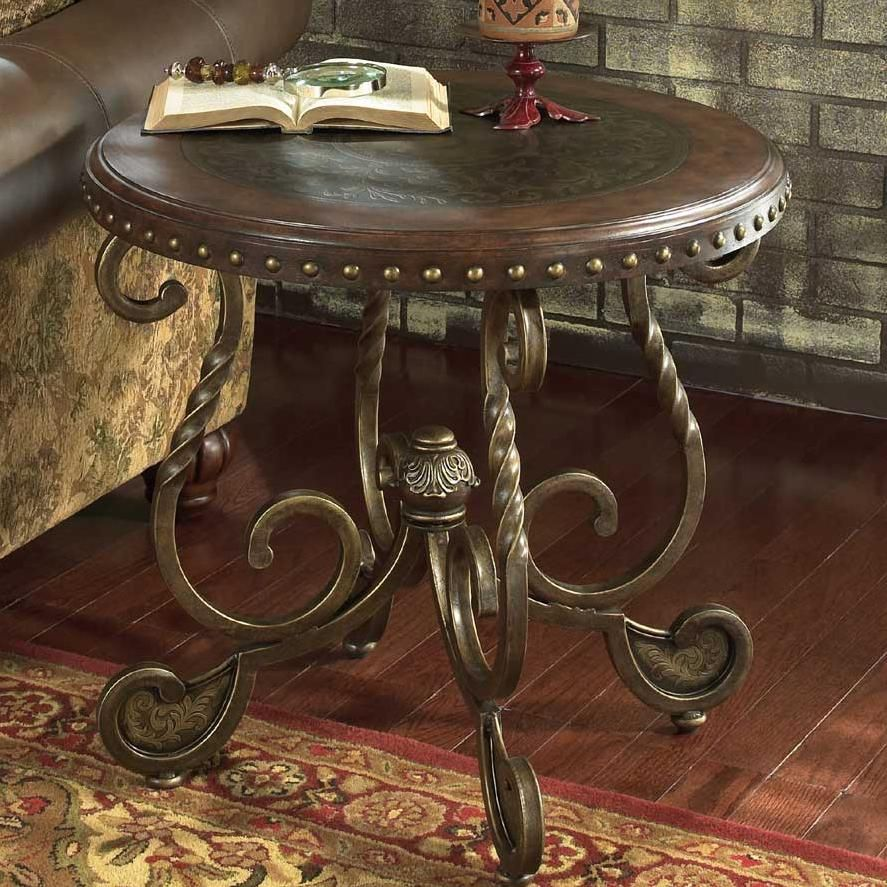 rafferty round end table with wooden top and metal legs