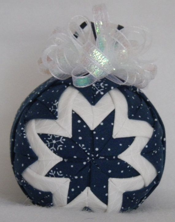 CLEARANCE Quilted Christmas Ornament Blue  White by Codysquilts on