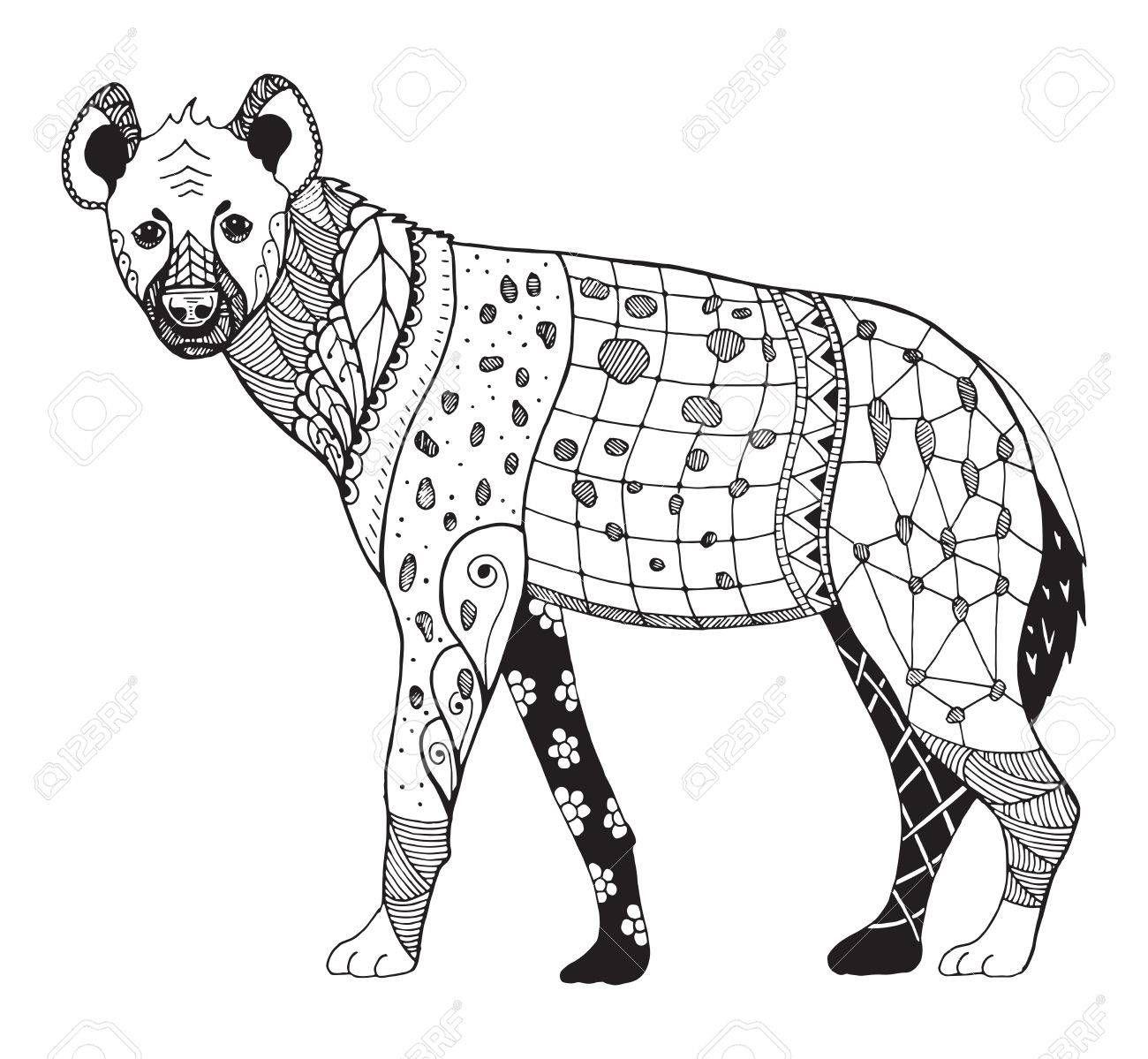 Hyena Zentangle Stylized Vector Illustration Freehand Pencil Hyena Zen Art Pattern Art