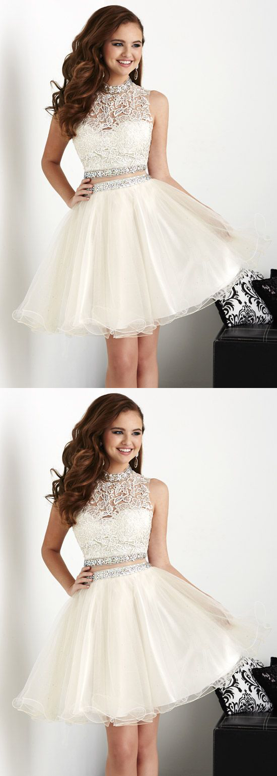 White homecoming dresses ball gowns short prom dress in prom