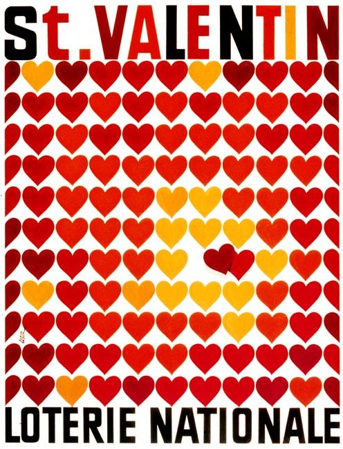 St. Valentin * Loterie Nationale by Paul Gabor 1960s ...
