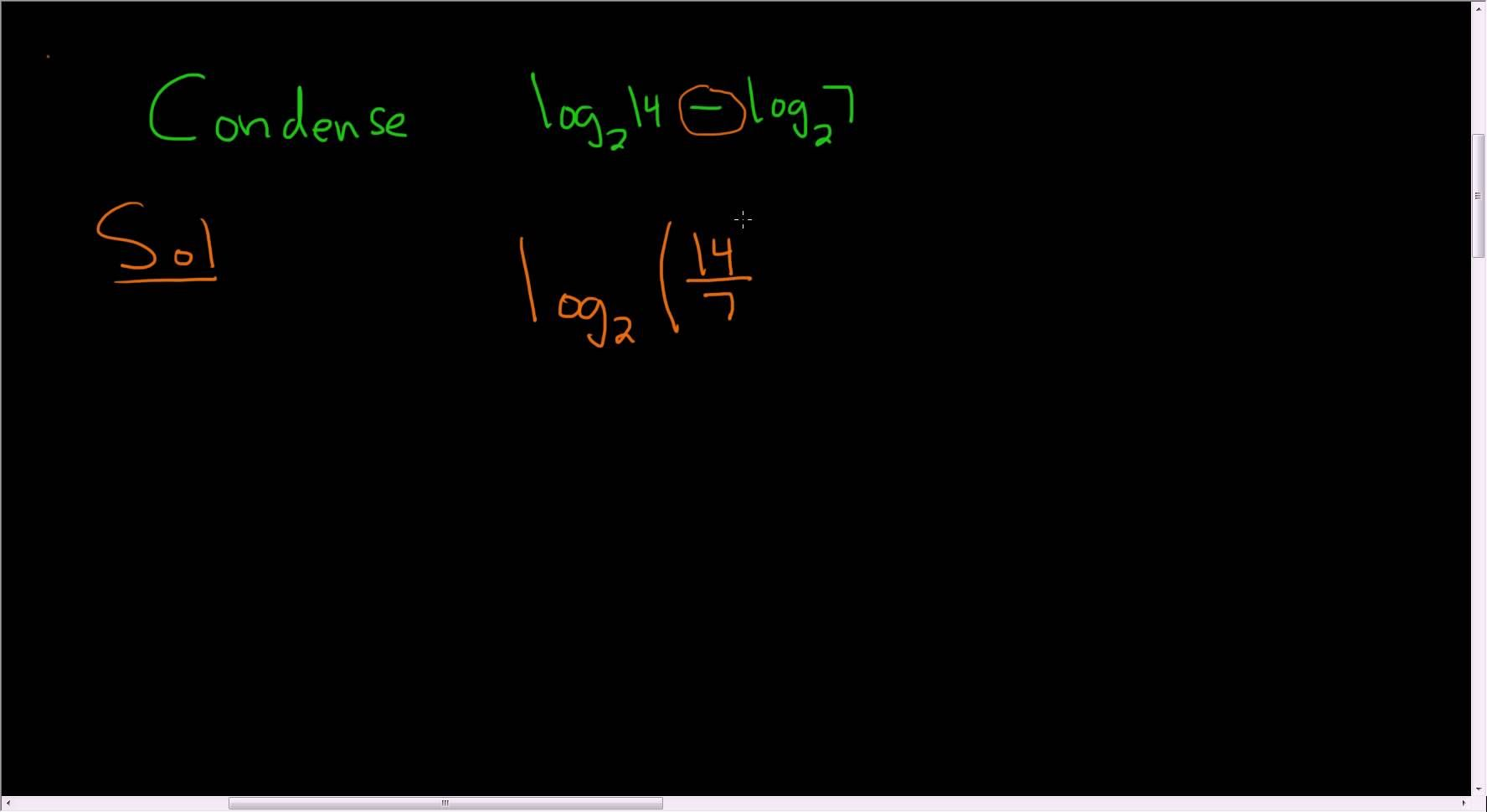 Condensing using the properties of logarithms example 2
