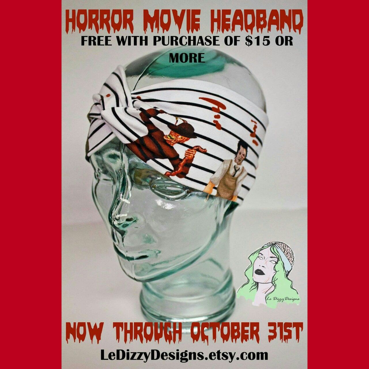 Free Horror Movie Headband with any order of 15 or more