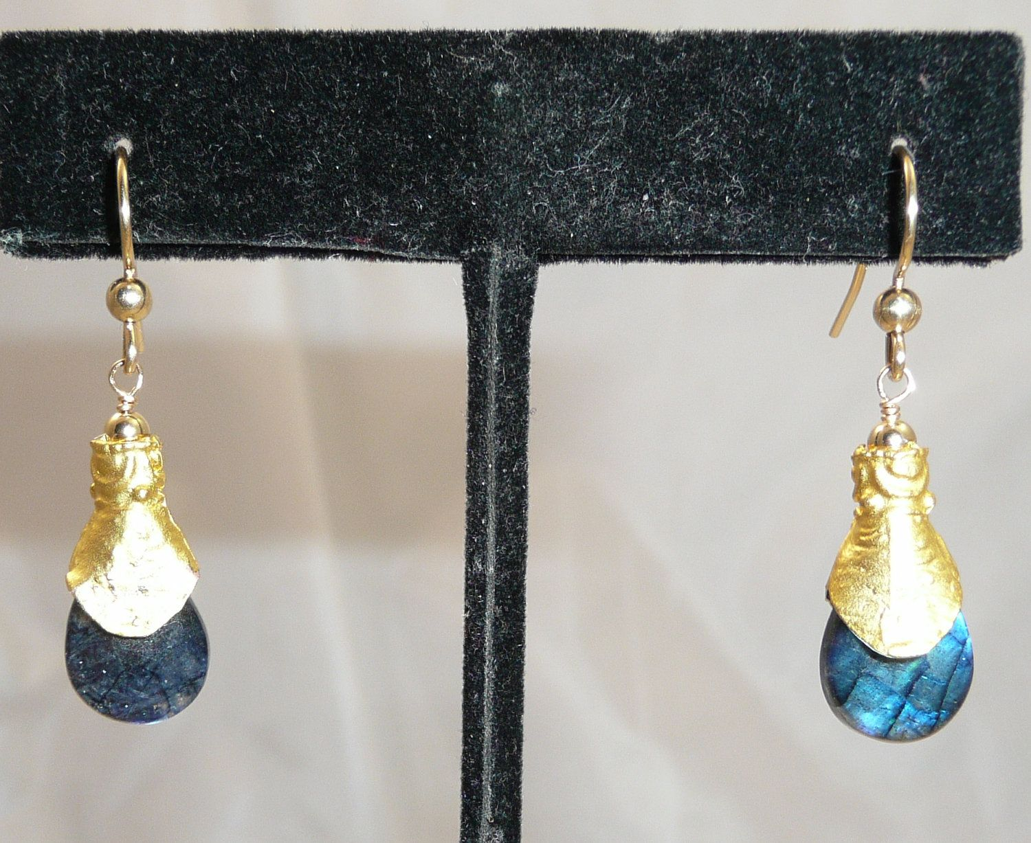 One from Antiquity - extreme blue fire labradorite, gold plated brass beadcap, gold filled earwire