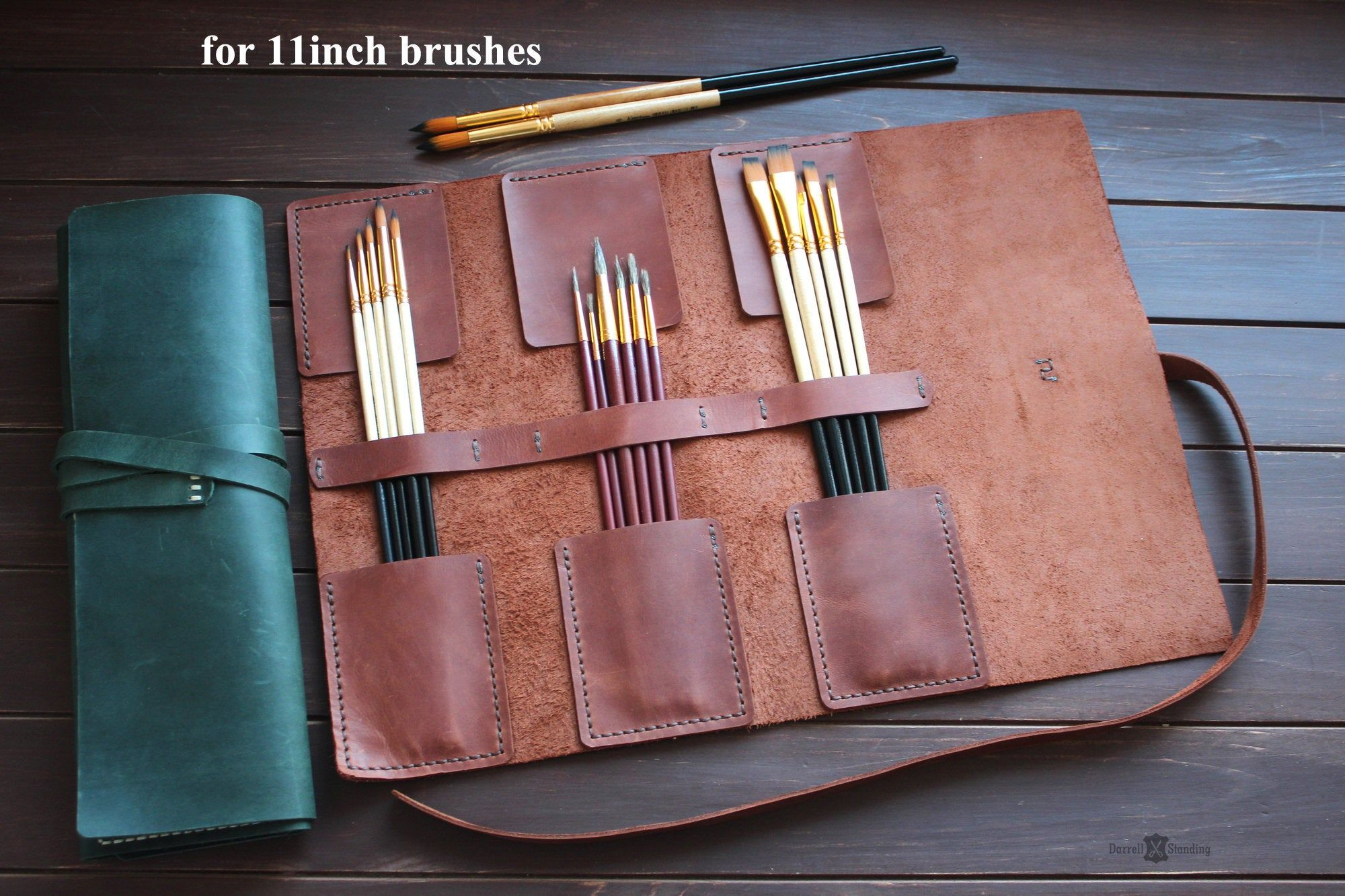 Leather paint brush roll gift ideas for artists artist