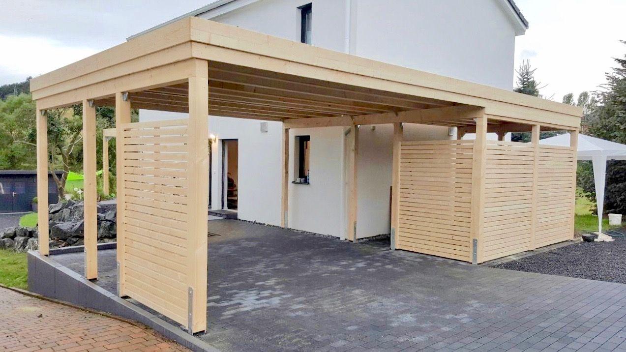 Design Carport Aus Holz Fichte Mit Rhombus Wandelementen Dieser Carport Hat Keine Kopfbander Querstreben Und Wirkt Dad Carport Holz Carport Terrasse Carport