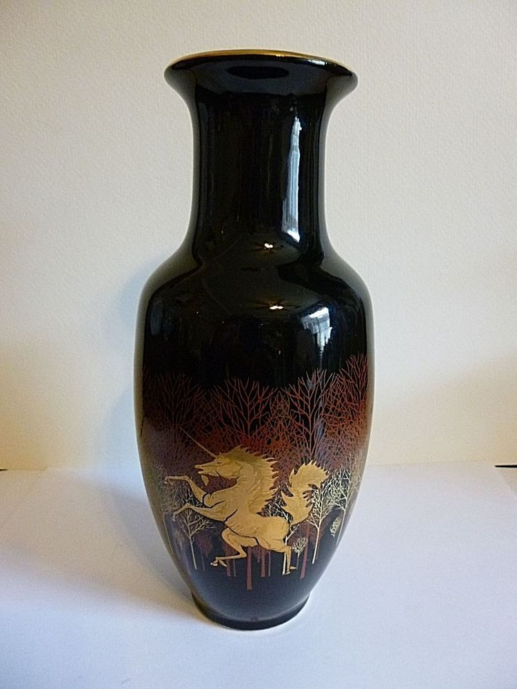 Vintage Otagiri Ceramic Black Amp Gold Unicorn 8 Quot Tall Vase