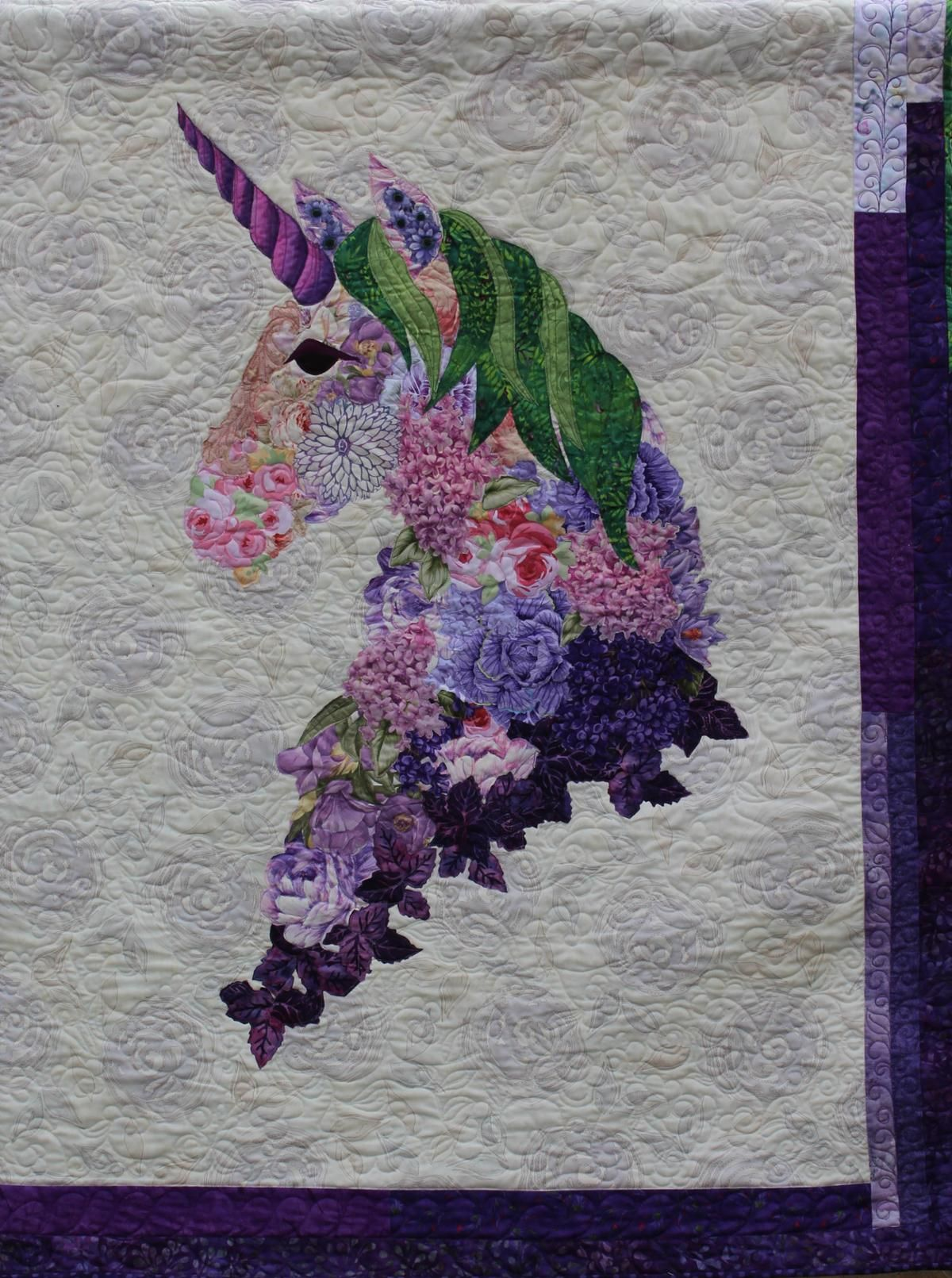 Amethyst Rose Unicorn Dragons And Such Crazy Quilt