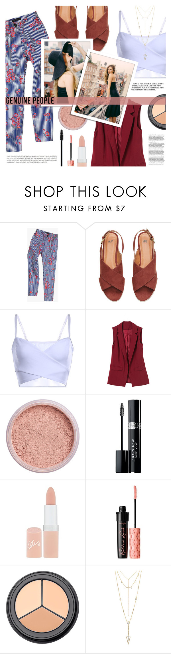 """""""Genuine-People"""" by tasnime-ben ❤ liked on Polyvore featuring H&M, W3LL People, Christian Dior, Rimmel, Benefit and House of Harlow 1960"""