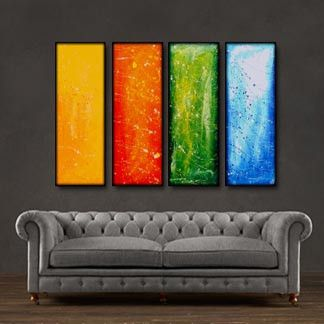 "'Sunny and bright' - 48"" X 30"" Original Abstract Art Painting. Everyone knows that accessories complete the home. With several pieces of paintings to choose from, your search for a perfect, one of a kind original artwork for your walls ends here.You don't need to settle for anything less than a perfect look. Enjoy free-shipping throughout USA, Free hardware and 30-day return."