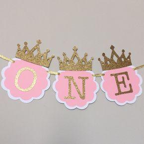 Bandera de silla rosa y oro. Decoraciones de cumpleaños de primera. UNA silla alta Banner. Fiesta de rosa y oro. Princesita, banner Smash Cake