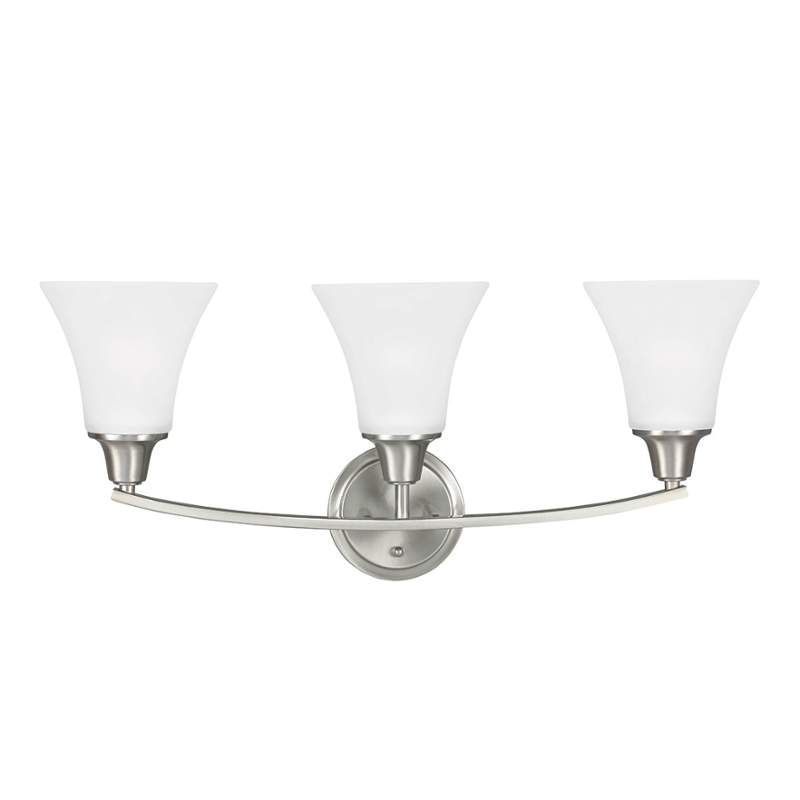 Sea gull lighting 4413203 metcalf 3 light bathroom vanity light brushed nickel indoor lighting bathroom fixtures