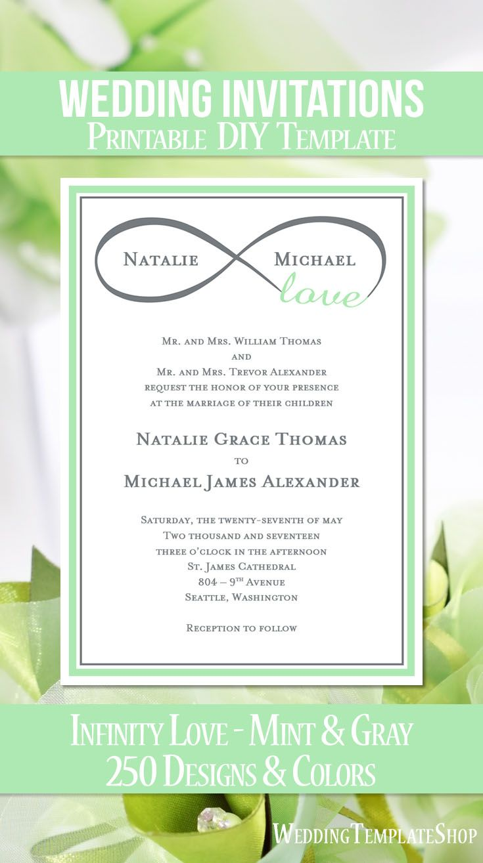 Infinity Love Wedding Invitation Mint Green Gray | Wedding, Wedding ...