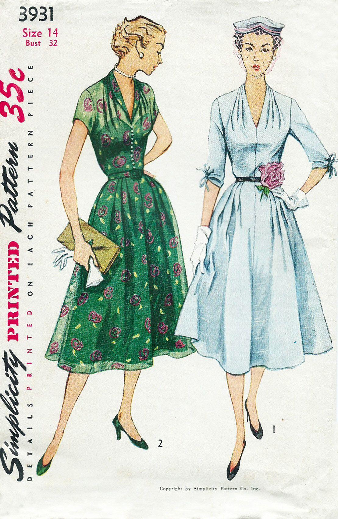 Pdf Sewing Pattern Stunning 1950s Vintage Dress Pattern Repro Size 14 Bust 32 By Vintagepatternvau Vintage Dress Patterns Vintage Dresses Vintage 1950s Dresses