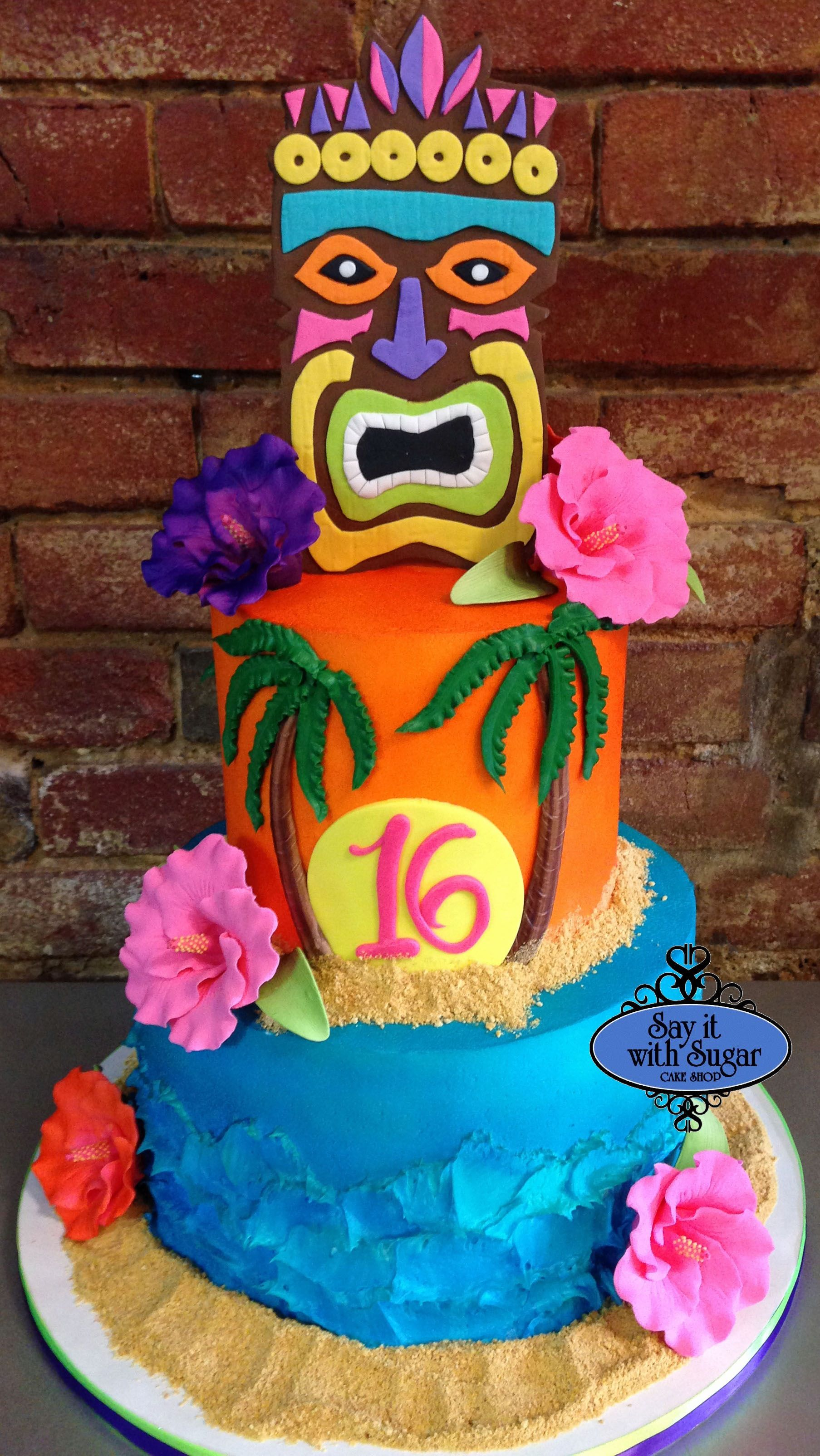 Tiki Hawaiian Themed Birthday Cake