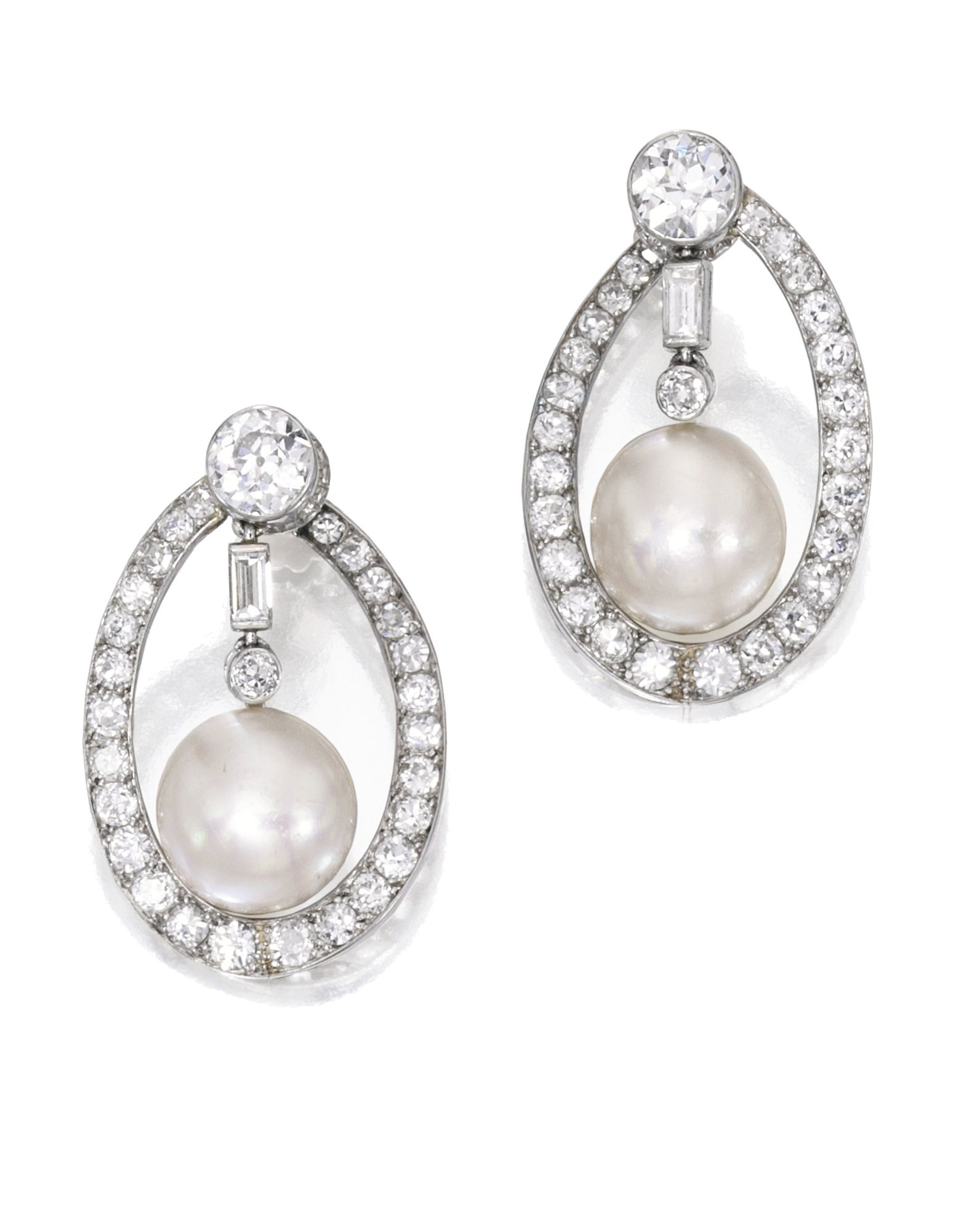 Pair of Natural Pearl and Diamond Earclips