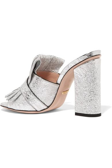 195826470f6 Gucci - Marmont Fringed Metallic Cracked-leather Mules - Silver - IT35.5