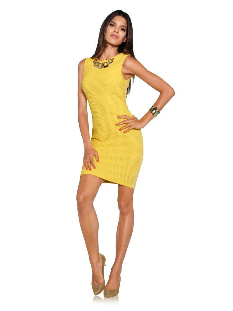 Tendance ananas robe jaune de cocktail chouette id e de for Robe jaune pour mariage