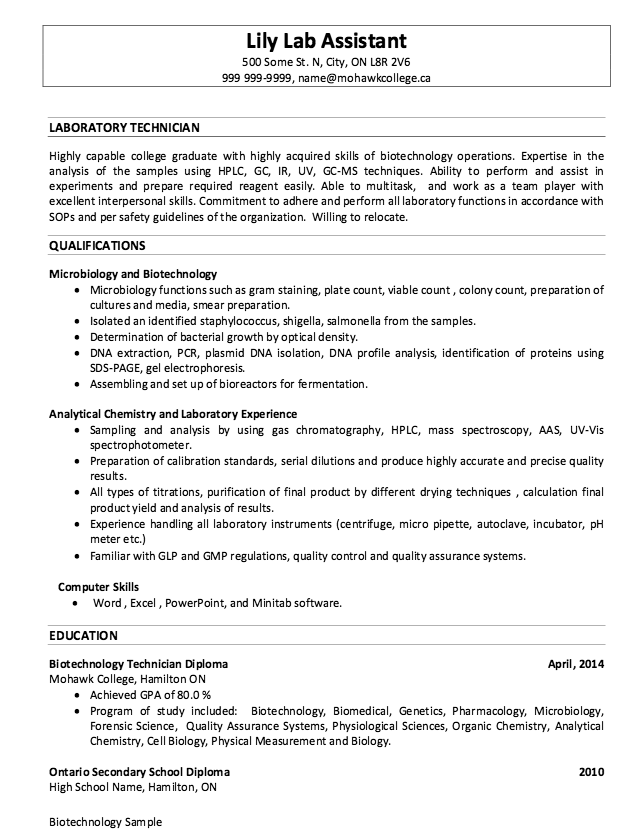 Sample Of Laboratory Technician Resumes