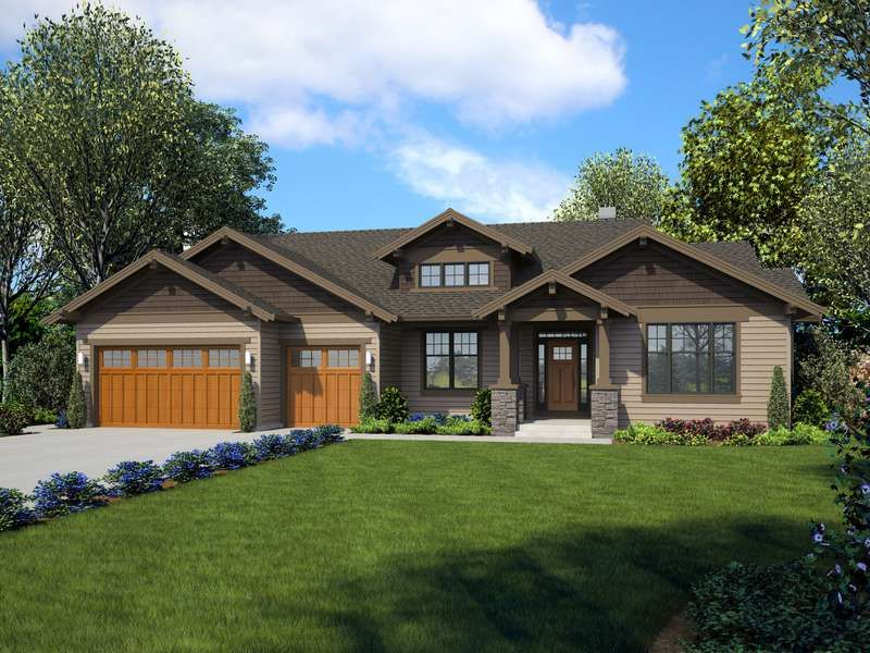 Plan 22157ba The Loyston Ranch House Plans Craftsman House Plan Craftsman Ranch