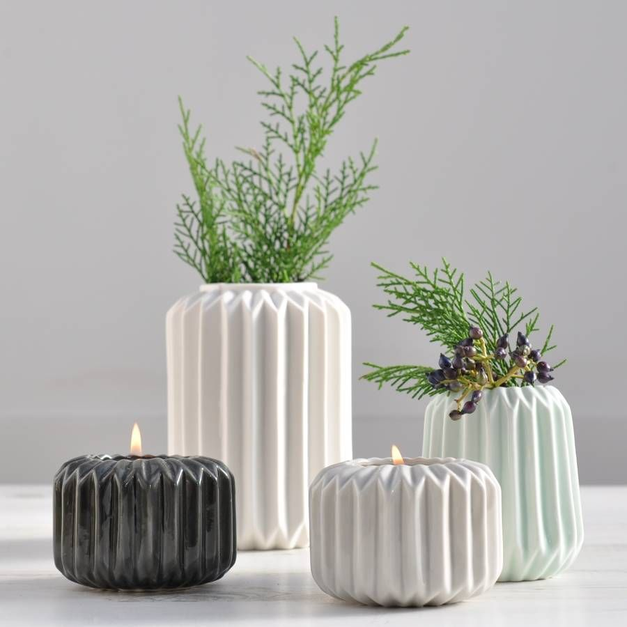 Collection of ori folded ceramic vases in white grey dark grey collection of ori folded ceramic vases in white grey dark grey and mint reviewsmspy