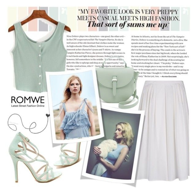 """Green Buttoned Knit Top by ROMWE"" by natasa-topalovic ❤ liked on Polyvore featuring RED Valentino and Meli Melo"
