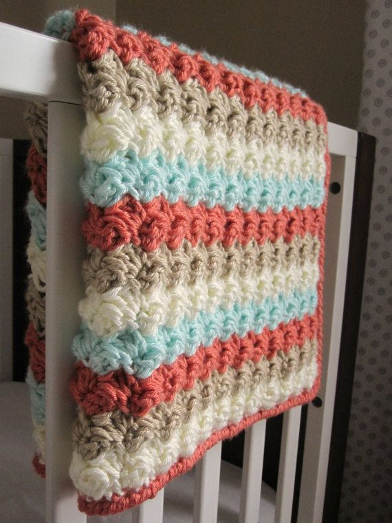 Chunky Preppy Baby Girl Reversible Crochet Blanket By 12charlotte