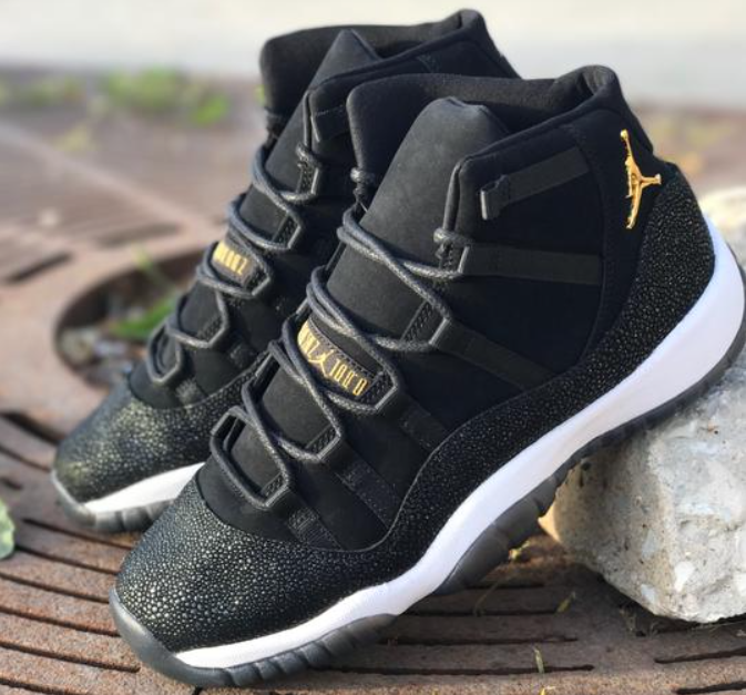 8d54efd1f0b2fc The Air Jordan 11 PRM Heiress Black Stingray is featured in a closer look  and it s