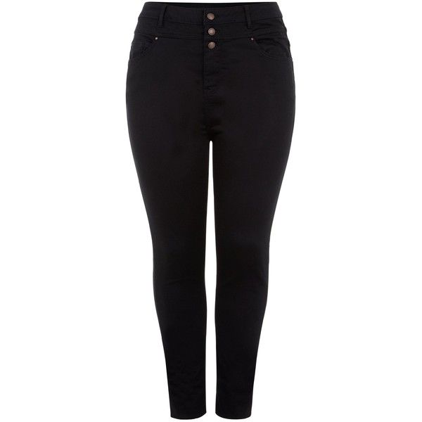 New Look Curves Black Supersoft High Waisted Jeans ($33) ❤ liked on  Polyvore featuring