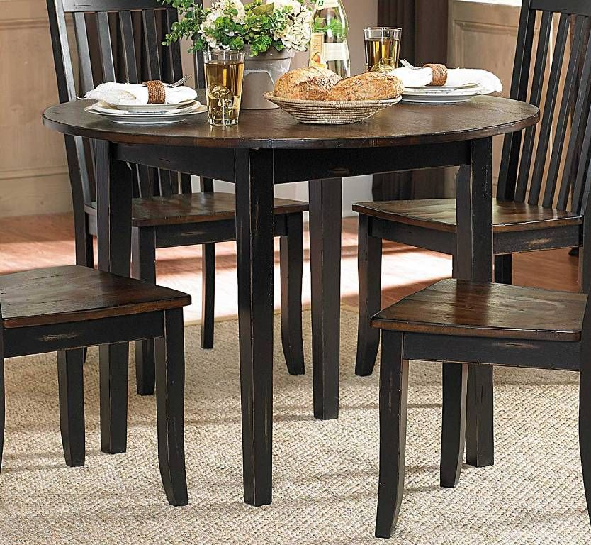 Furniture: Beautiful Round Dining Table With Leaves From The Exotic Style  Of The Round Dining