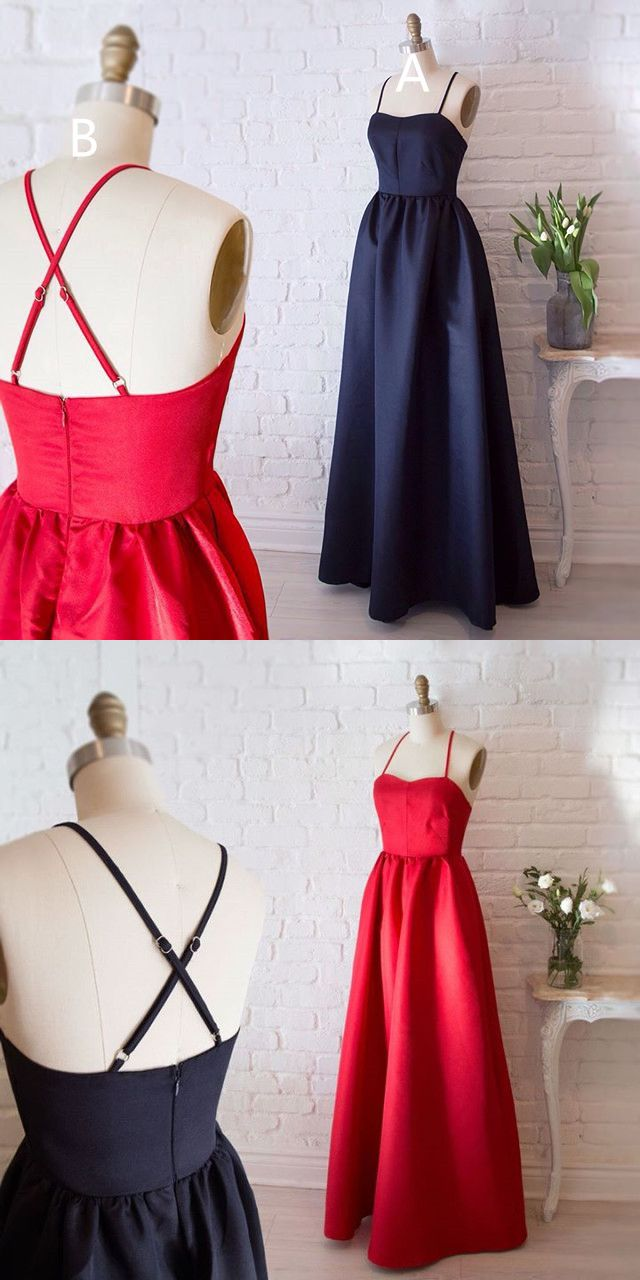 Simply elegant straps red long prom dress black long prom dress from