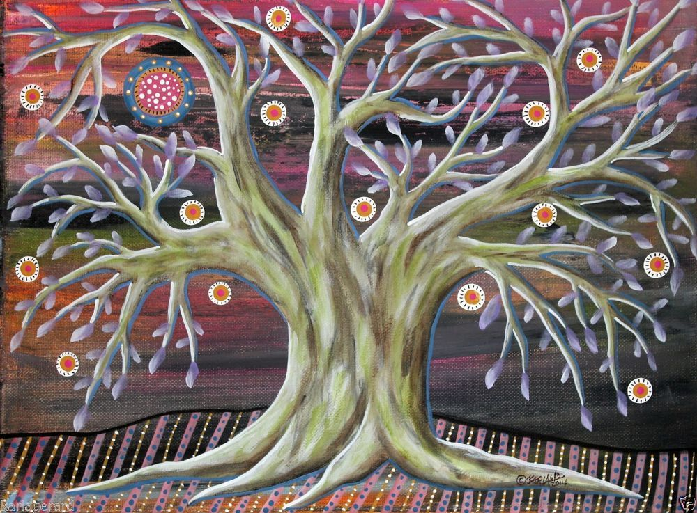 Serene 14x11 inch Tree ORIGINAL Canvas PAINTING Abstract FOLK ART PRIM Karla G, new painting for sale, just added to store...check it out..