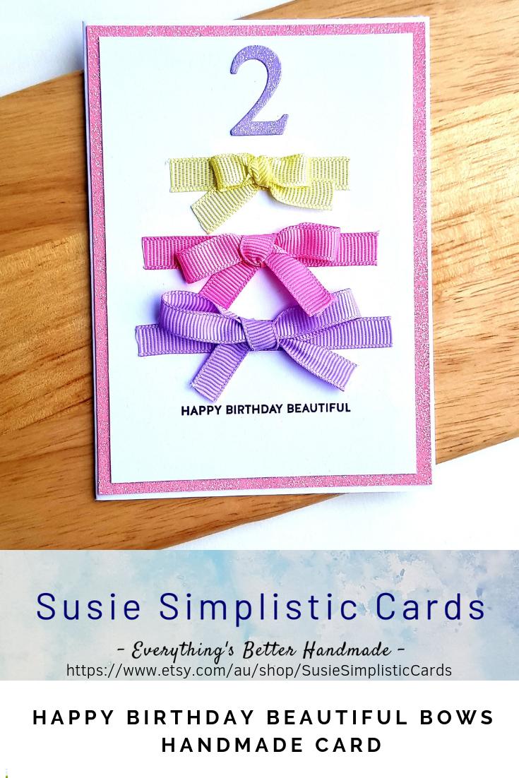 Birthday Card Daughter Birthday Bows Card Little Girls Birthday Card 2nd Birthday Card Girl Birthday Cards Cool Birthday Cards Birthday Card Template