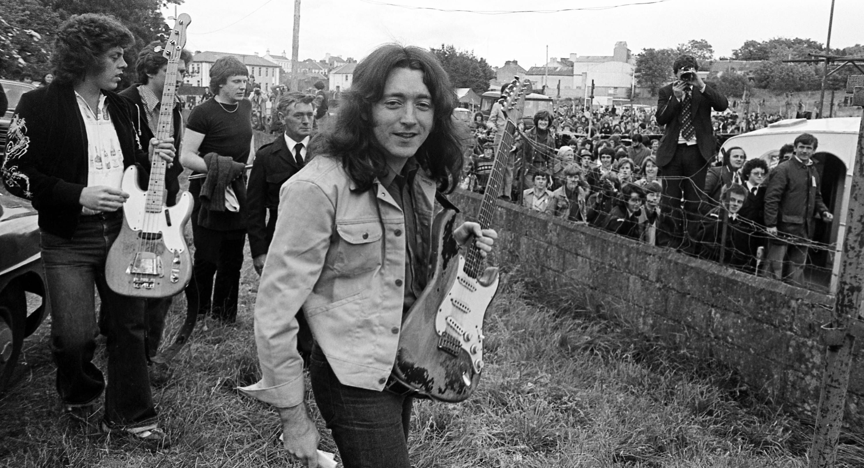 Rory Gallagher arriving at the Macroom Mountain Dew Festival (1978)