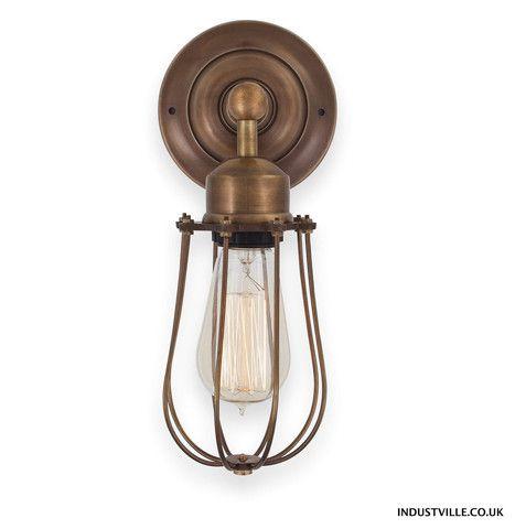 Bathroom Lights Orlando orlando vintage wire cage retro sconce wall light - brass