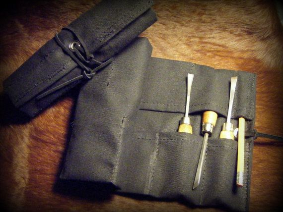 Small Black Canvas Tool Roll for Wood Carvers, Hobbyists, Musicians