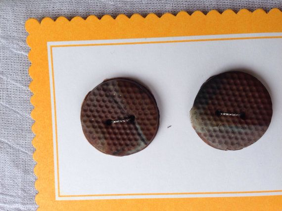 Brown Black Sand Polymer Clay Buttons on Etsy, $3.00