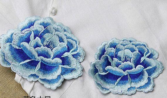 1pcs Lace Applique Blue Peony Floral Embroidery Applique Exquisite #bluepeonies