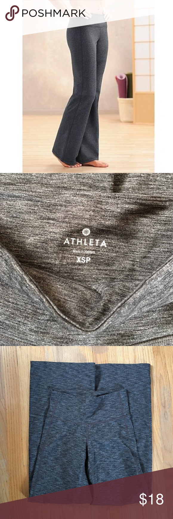"""Athleta Gray Space-Dyed Chaturanga Pant Reposh of these awesome XSP Chaturanga yoga pants from Athleta. Waist was a little too short for me. Gorgeous space-dyed gray fabric with plenty of stretch. 29"""" inseam. Would best fit a 26"""" waist. Athleta Pants"""