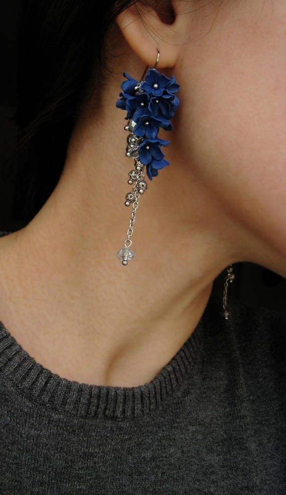 Image result for blue earrings dangle flowers