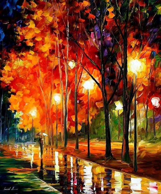 Painting - Reflection Of The Night by Leonid Afremov #affiliate , #Aff, #affiliate, #Reflection, #Afremov, #Leonid, #Painting