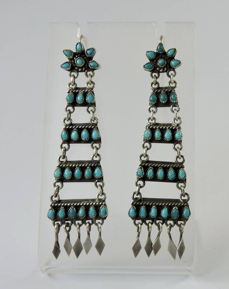 ea95f2d5c Vintage Zuni Indian Turquoise Chandelier Earrings by Oldndnshop on Etsy